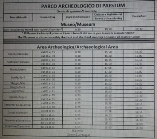 Parco archeologico-Paestum-Nuovo Orario