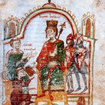 Pietro da Eboli nell'atto della donazione del Liber ad Honorem ad Enrico VI - Copia