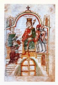 Pietro da Eboli nell'atto della donazione del Liber ad Honorem ad Enrico VI