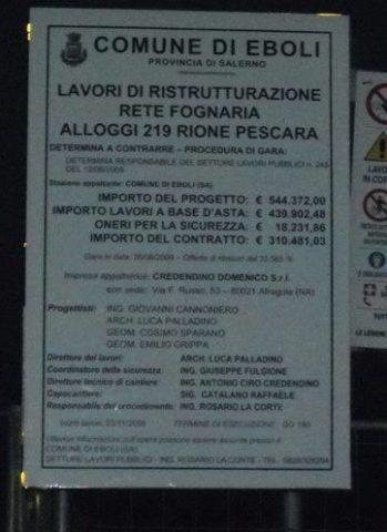 Quartiere Pescara-cartello lavori rete fognaria