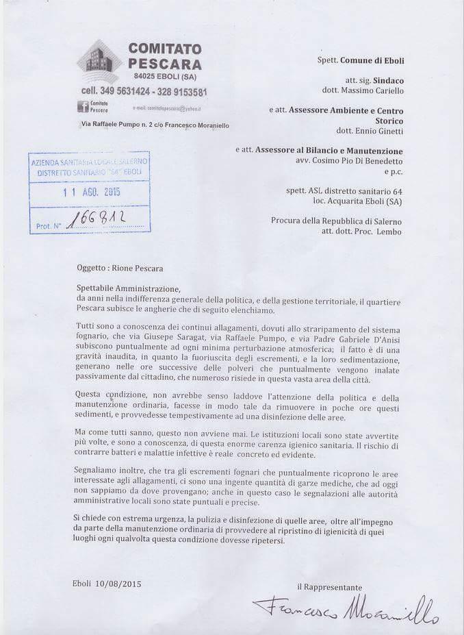 Quartiere Pescara-lettera-esposto