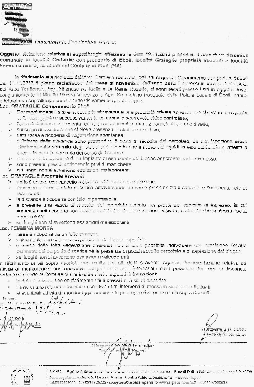 Relazione Arpac Salerno