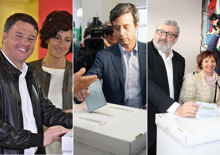 Primarie Pd-Renzi-Orlando-Emiliano