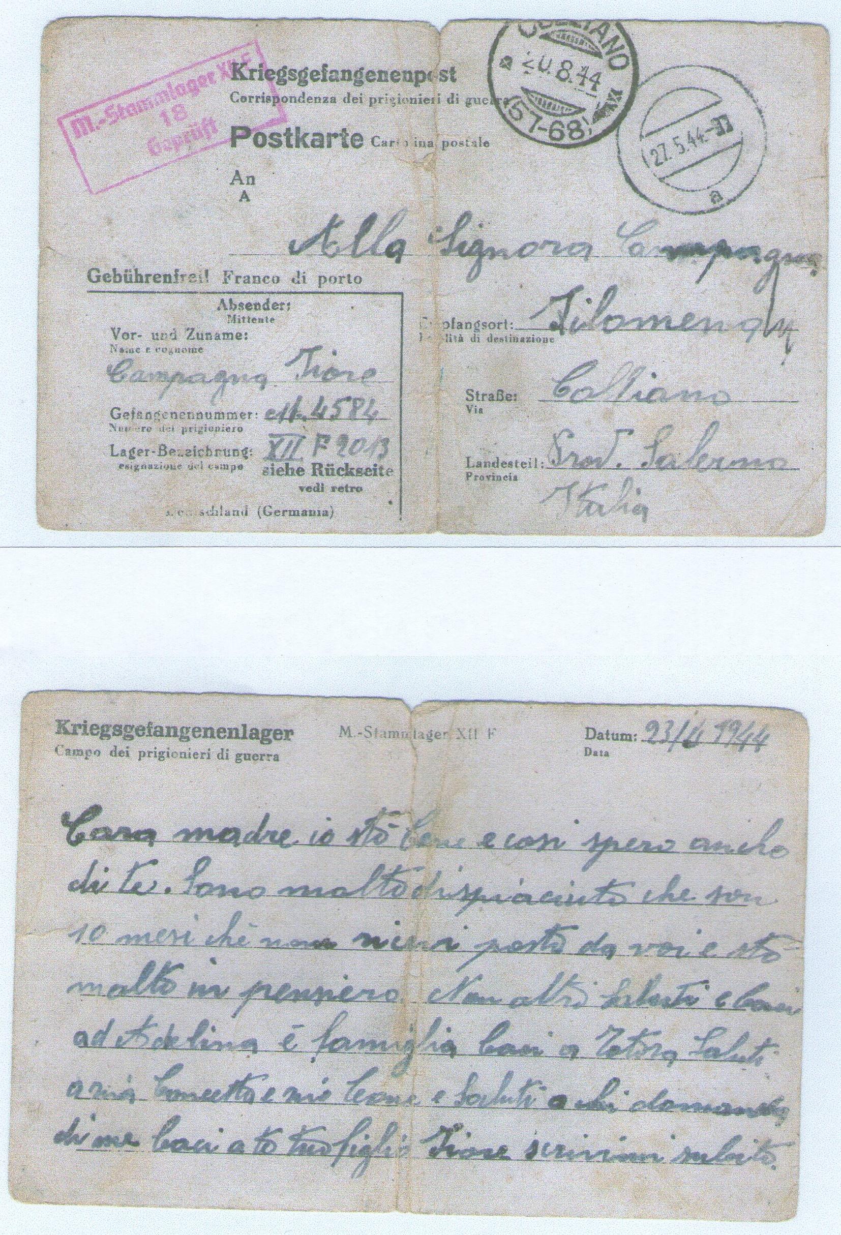 Cartolina dalla prigionia