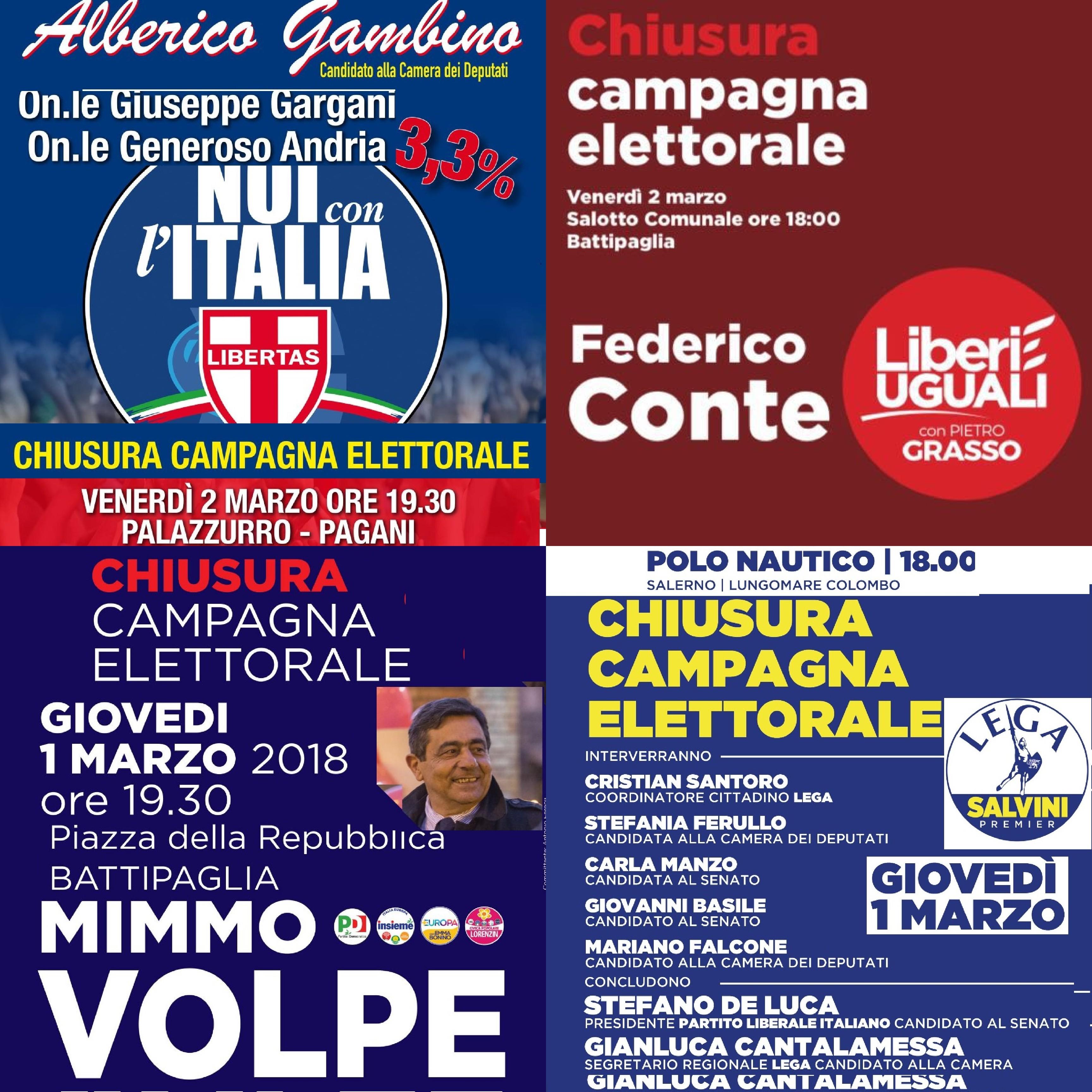 Chiusura campagna elettorale-Gambino-Conte-Volpe-Lega