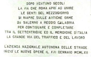 Salerno-Inaugurazione A3-targa ricordo