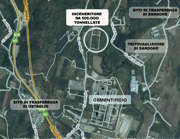ubicazione inceneritore (fonte Isea Onlus)